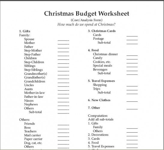Christmas Budget Worksheet