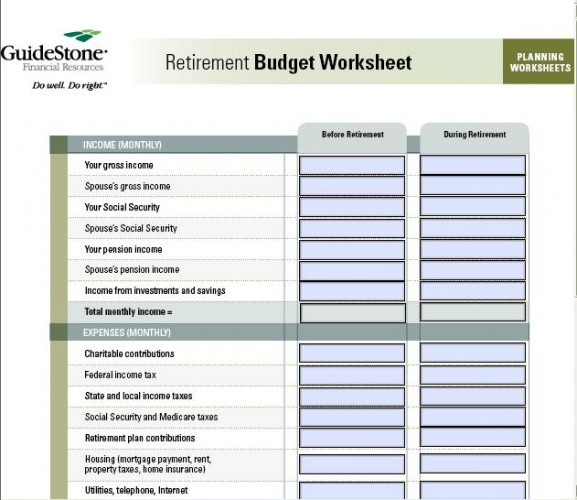 Worksheets Retirement Expense Worksheet 7 free printable budget worksheets retirement budget