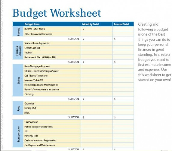 ... offers students a budget worksheet to track monthly earnings and