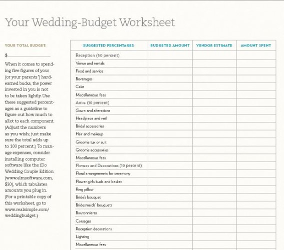 Wedding Budget Worksheet Printable